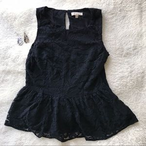 🌸 5 for $25🌸 Black lace peplum top